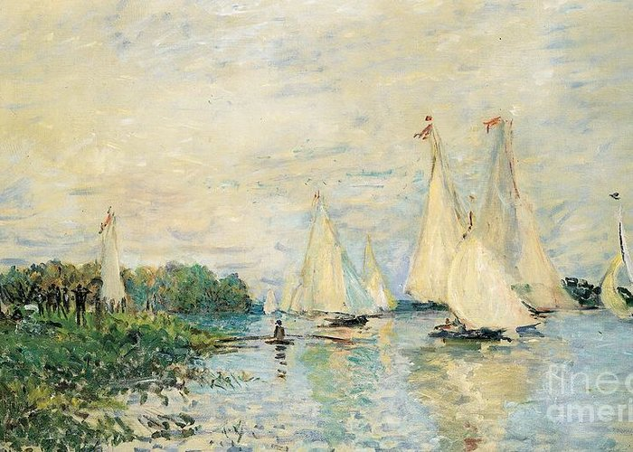 Regatta At Argenteuil Greeting Card featuring the painting Regatta at Argenteuil by Claude Monet