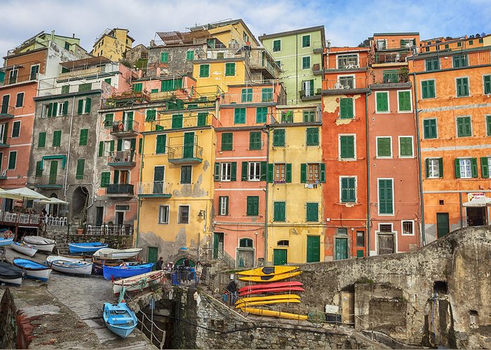 Riomaggiore Greeting Card featuring the photograph Riomaggiore by Joana Kruse
