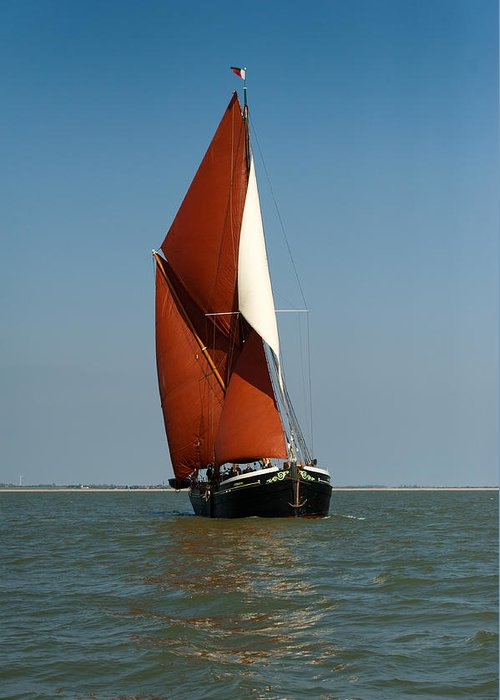 Thames Barge Greeting Card featuring the photograph Sailing Barge by Gary Eason