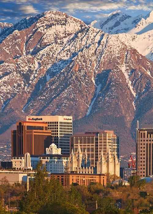 Salt Lake City Greeting Card featuring the photograph Salt Lake City Skyline by Utah Images