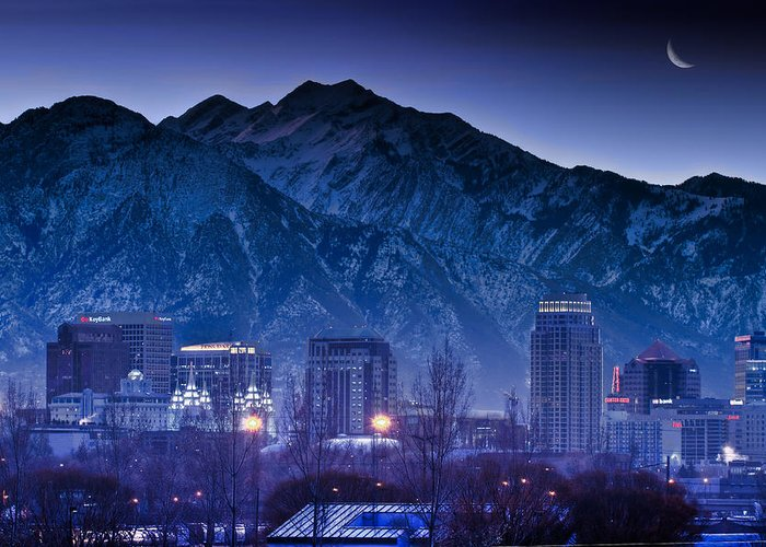 Salt Greeting Card featuring the photograph Salt Lake City Utah Skyline by Utah Images