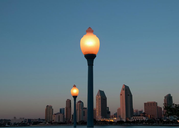 Tranquility Greeting Card featuring the photograph San Diego Skyline by Mitch Diamond