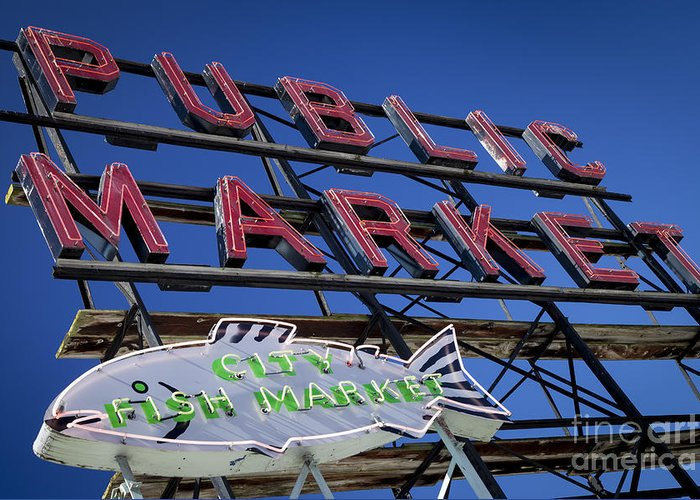 America Greeting Card featuring the photograph Seattle Market Sign by Brian Jannsen