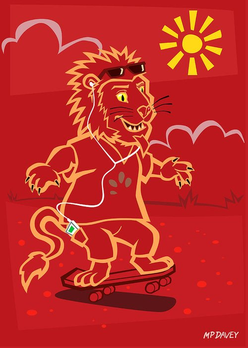 Lion With Ipod Greeting Cards