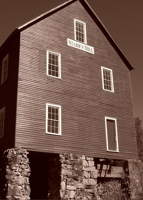 Sepia Phtotgraphy Greeting Card featuring the photograph Starr's Mill Ga by Jake Hartz