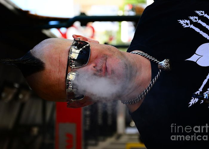 Street Performer Enjoying His Pipe Of Smoke Greeting Card featuring the digital art Street Photography by Bobby Mandal