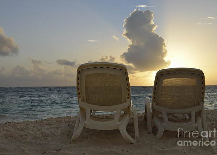 Tranquil Scene Greeting Card featuring the photograph Sun Lounger On Tropical Beach by Sami Sarkis
