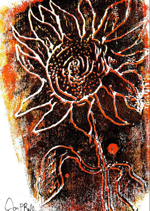 Woodcut Greeting Card featuring the mixed media Sunflower by Jon Baldwin Art