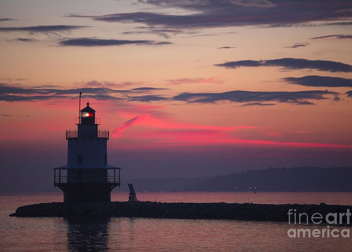 Lighthouse; Spring Point Lighthouse; Sunrise; Maine; Morning; Vibrant Color; Beacon; Beautiful; Ocean; Casco Bay; Clouds; Water Greeting Card featuring the photograph Sunrise At Spring Point Lighthouse by Diane Diederich