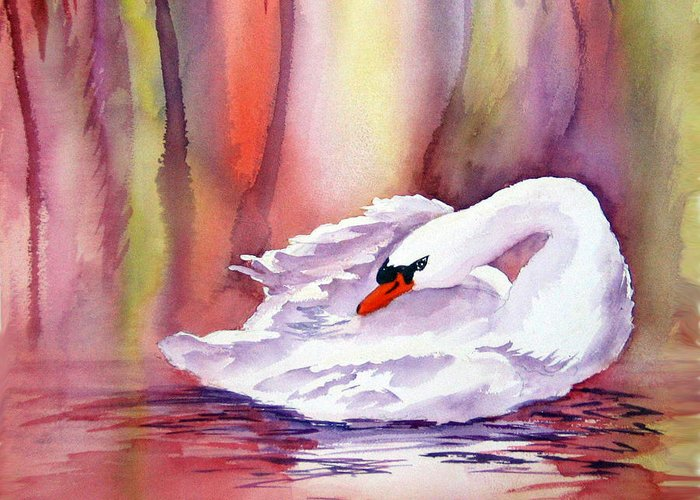 Swan Greeting Card featuring the painting Swan by Patricia Novack