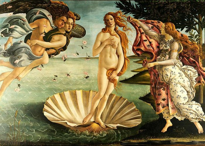 Botticelli Greeting Card featuring the painting The Birth Of Venus by Sandro Botticelli