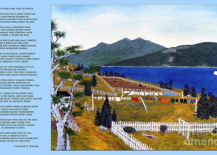 The Clothesline Greeting Card featuring the painting The Clothesline by Barbara Griffin