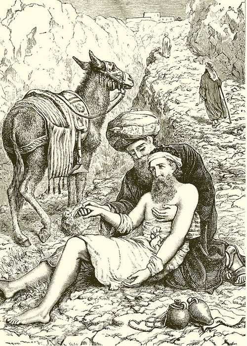 Bible Greeting Card featuring the drawing The Good Samaritan by English School