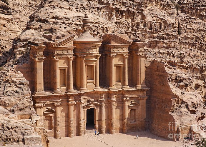Petra Greeting Card featuring the photograph The Monastery At Petra In Jordan by Robert Preston