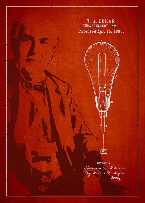 Thomas Edison Greeting Card featuring the drawing Thomas Edison Incandescent Lamp Patent Drawing From 1890 by Aged Pixel