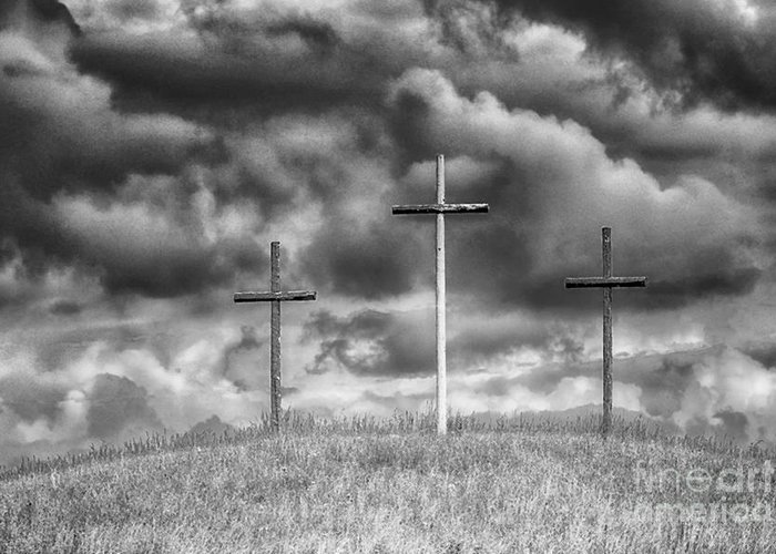 Cross Greeting Card featuring the photograph Three Crosses On Hill by Thomas R Fletcher