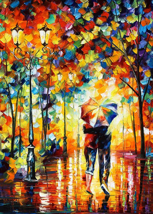 Under Greeting Card featuring the painting Under One Umbrella by Leonid Afremov