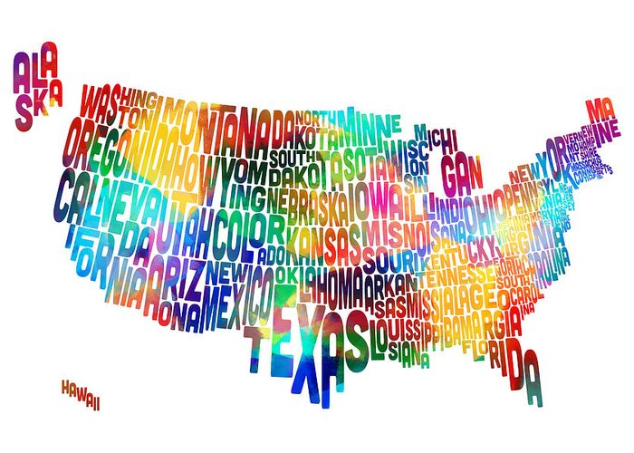 Usa Map Greeting Card featuring the digital art United States Typography Text Map by Michael Tompsett