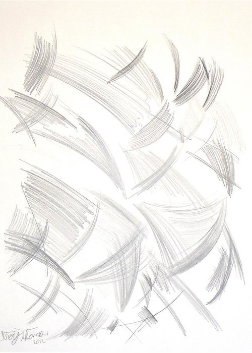 Abstract Modern Art Greeting Card featuring the painting Untitled Graphite by Troy Thomas