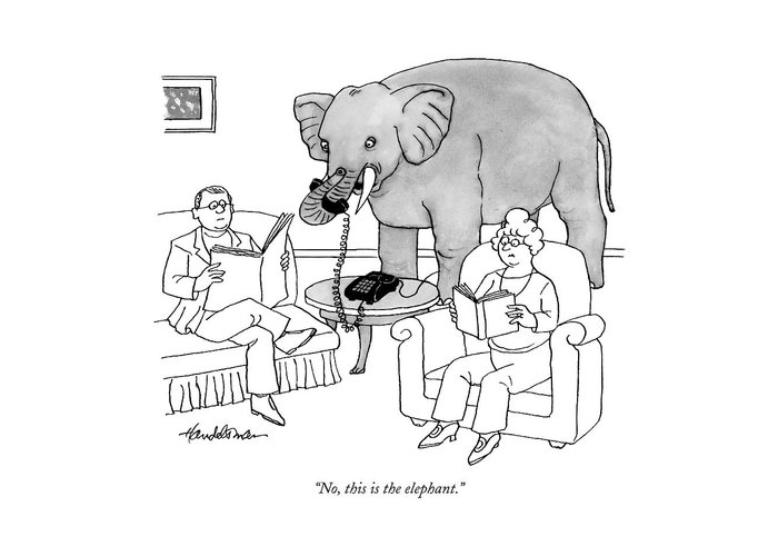 Elephants Talking Pets   (elephant Answering A Phone In A Living Room.) 121678 Jha J.b. Handelsman Greeting Card featuring the drawing No, This Is The Elephant by J.B. Handelsman