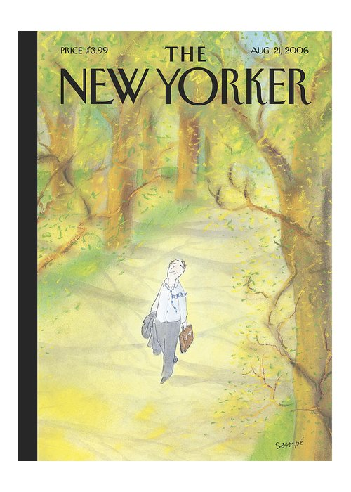 122749  (man Walking In The Woods.) Leisure Greeting Card featuring the painting New Yorker August 21st, 2006 by Jean-Jacques Sempe