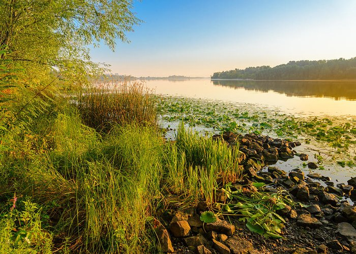 Dnipro Dnieper Greeting Card featuring the photograph View Of The Dniper River At Morning by Alain De Maximy