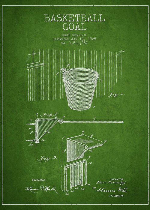 Hoop Patent Greeting Card featuring the digital art Vintage Basketball Goal Patent From 1925 by Aged Pixel