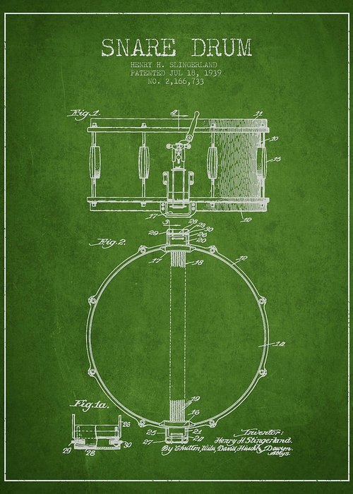 Snare Drum Greeting Card featuring the digital art Snare Drum Patent Drawing From 1939 - Green by Aged Pixel
