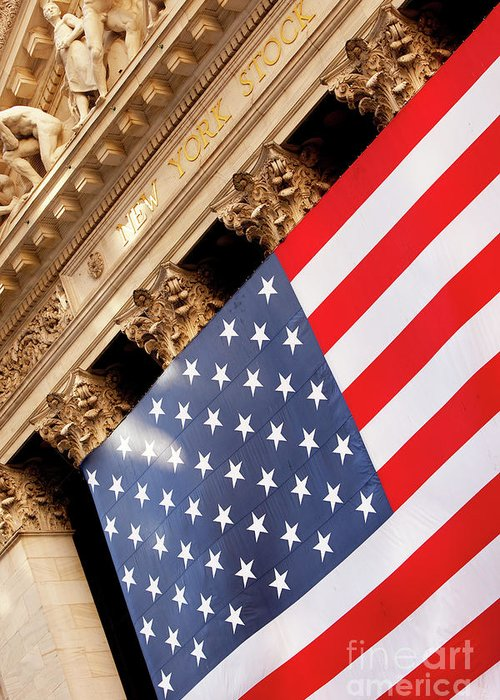 American Greeting Card featuring the photograph Wall Street Flag by Brian Jannsen