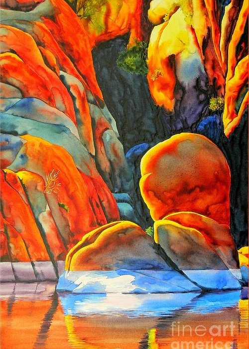 Watercolor Greeting Card featuring the painting Watson Lake by Robert Hooper