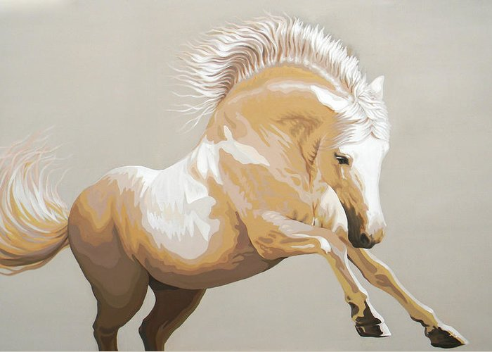 White Horse Greeting Card featuring the painting C . O . U . R . A . G . E . O . U . S by J - O  N  E