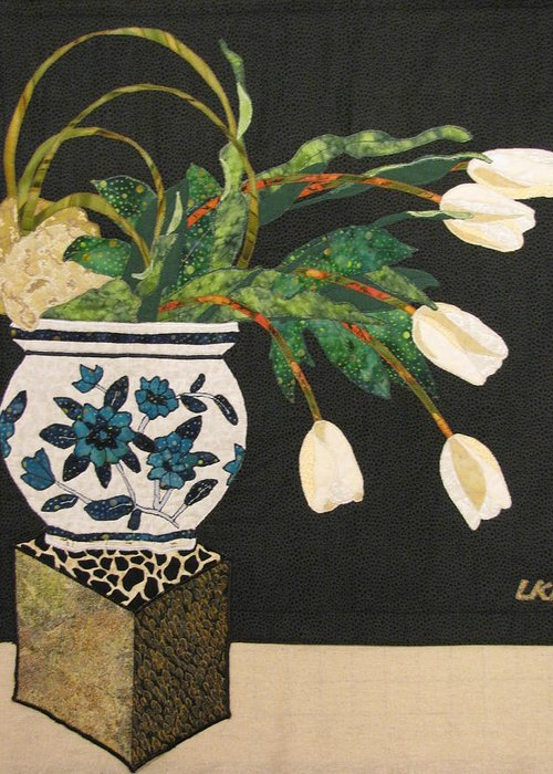 Floral Tapestries Textiles Greeting Card featuring the tapestry - textile White Tulips by Lynda K Boardman