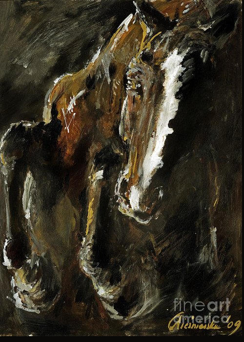 Horse Greeting Card featuring the painting Wild Heart by Angel Ciesniarska