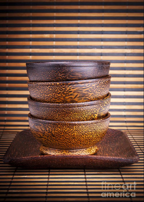 Bowl Greeting Card featuring the photograph Wooden Bowls by Tim Hester
