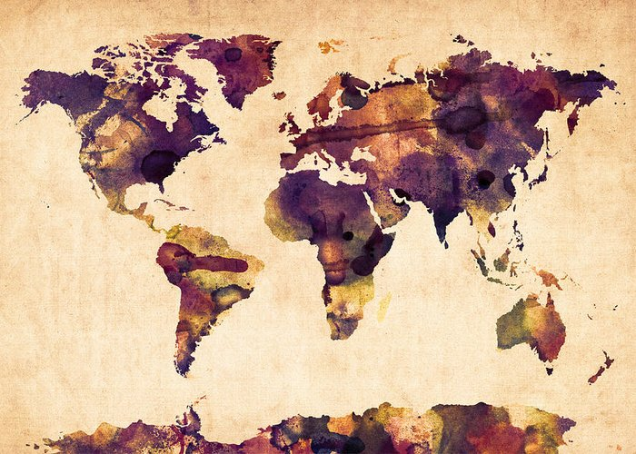 Map Of The World Greeting Card featuring the digital art World Map Watercolor by Michael Tompsett