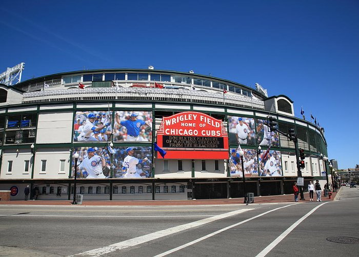 Addison Greeting Card featuring the photograph Wrigley Field - Chicago Cubs by Frank Romeo