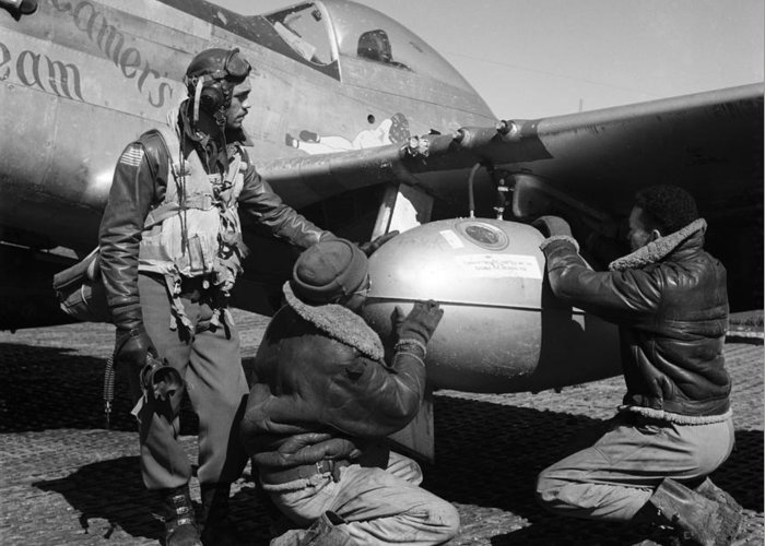 1945 Greeting Card featuring the photograph Wwii: Tuskegee Airmen, 1945 by Granger
