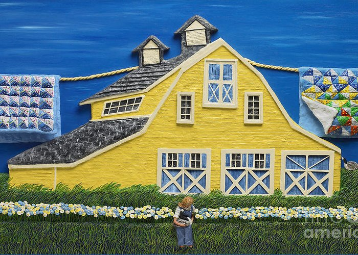 Yellow Greeting Card featuring the sculpture Yellow Barn by Anne Klar