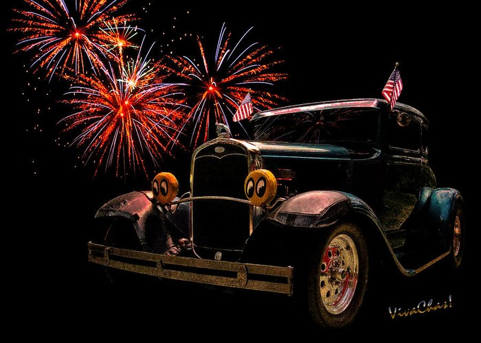 Hot Rod Art Greeting Card featuring the photograph 31 Five Window Coupe On The Fourth Of July by Chas Sinklier