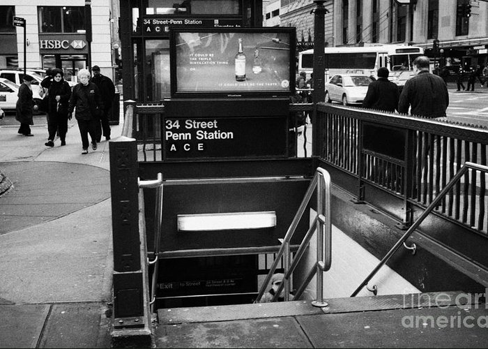 Usa Greeting Card featuring the photograph 34th Street Entrance To Penn Station Subway New York City by Joe Fox