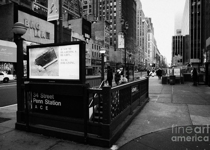 Usa Greeting Card featuring the photograph 34th Street Entrance To Penn Station Subway New York City Usa by Joe Fox