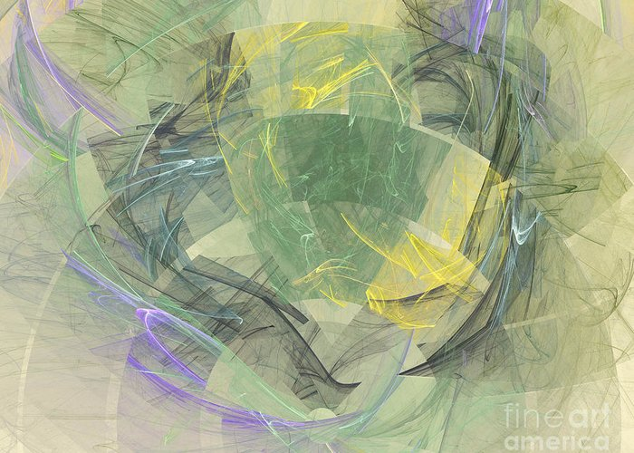 Fractal Greeting Card featuring the digital art Colorful Abstract Forms by Odon Czintos