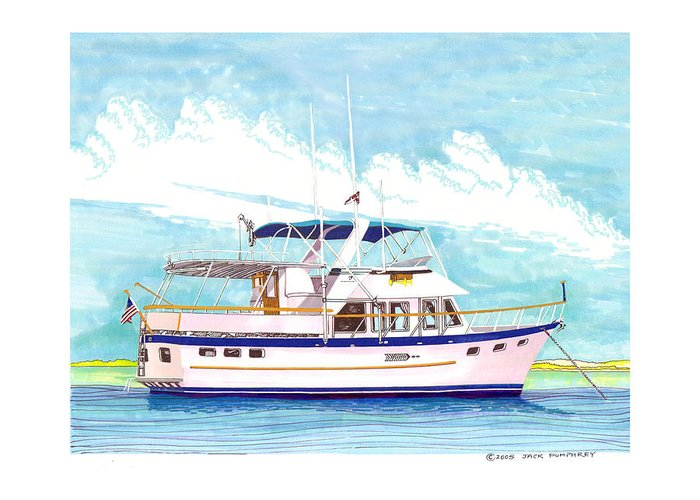 Yacht Portraits Greeting Card featuring the painting 37 Foot Marine Trader 37 Trawler Yacht At Anchor by Jack Pumphrey