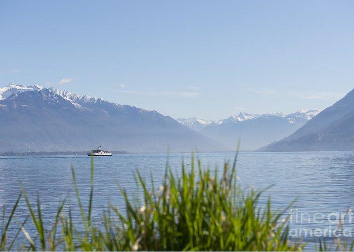 Passenger Ship Greeting Card featuring the photograph Alpine Lake by Mats Silvan