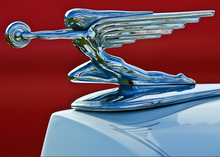 1936 Packard Greeting Card featuring the photograph 1936 Packard Hood Ornament by Jill Reger
