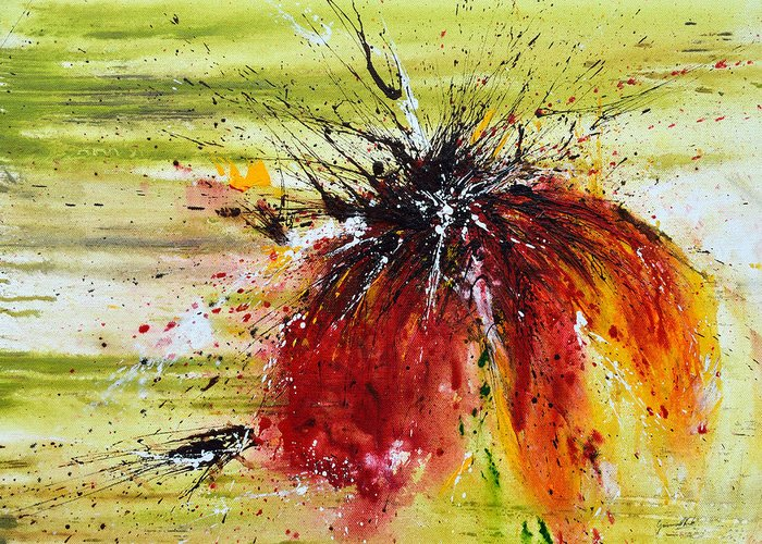 Emotion Greeting Card featuring the painting Abstract Flower by Ismeta Gruenwald