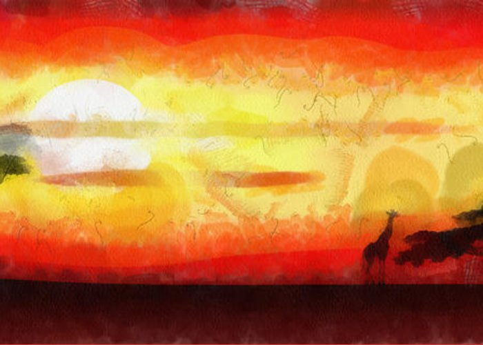 Abstract Greeting Card featuring the mixed media Africa Sunset by Michal Boubin