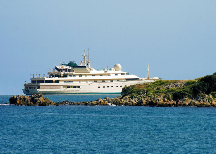 Port Greeting Card featuring the photograph Antibes - Superyachts Of Billionaires by Christine Till