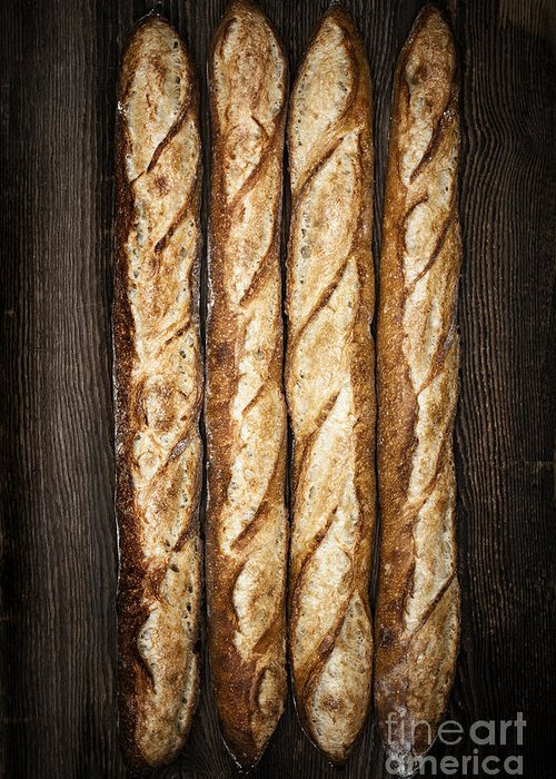Bread Greeting Card featuring the photograph Baguettes by Elena Elisseeva