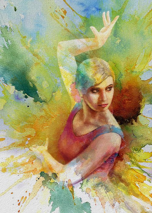 Ballet Dancer Greeting Card featuring the painting Ballet Dancer by Corporate Art Task Force